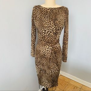 Cache Faux Wrap Leopard Sweater Dress